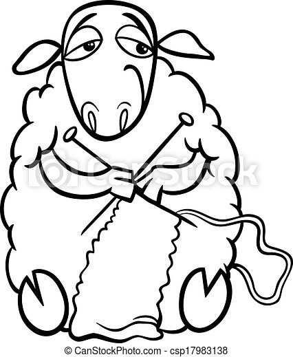 Knitting Sheep Coloring Page Black And White Cartoon Illustration Of Funny Sheep Farm Animal Knitting For Coloring Book