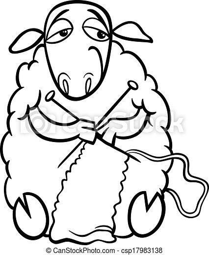 Knitting sheep coloring page csp17983138