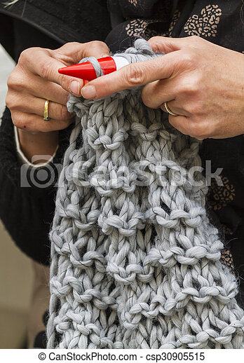 knitting workwoman - csp30905515