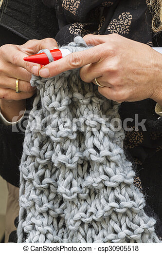 knitting workwoman - csp30905518
