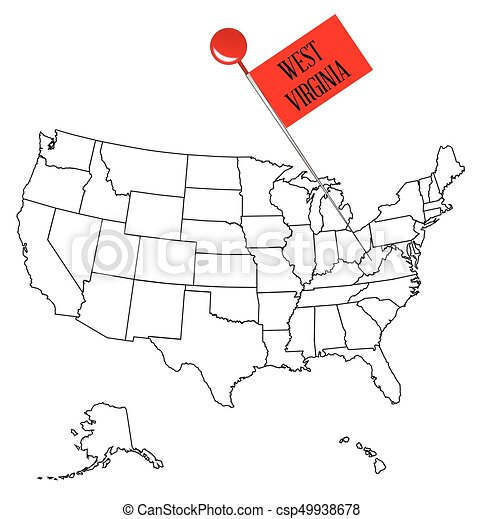 an outline map of usa with a knob pin in the state of west virginia