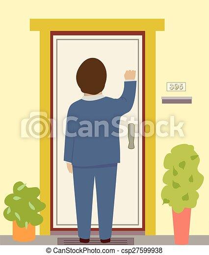 Knocking On The Door Vector  sc 1 st  Can Stock Photo & Knocking on the door. A man in a suit knocks on a door vectors ...