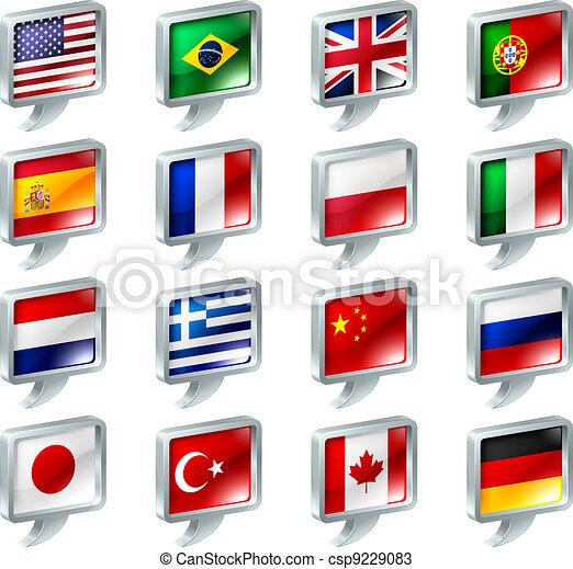 knopen, toespraak, vlag, bel, iconen - csp9229083