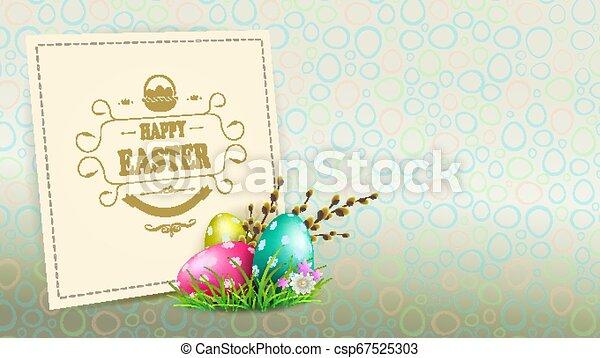 knospen, eier, silhouette, rahmen, weide, hell, quadrat, zweig, ostern, zusammensetzung - csp67525303