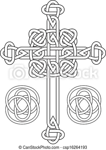 Knotted celtic cross stencil vector - csp16264193