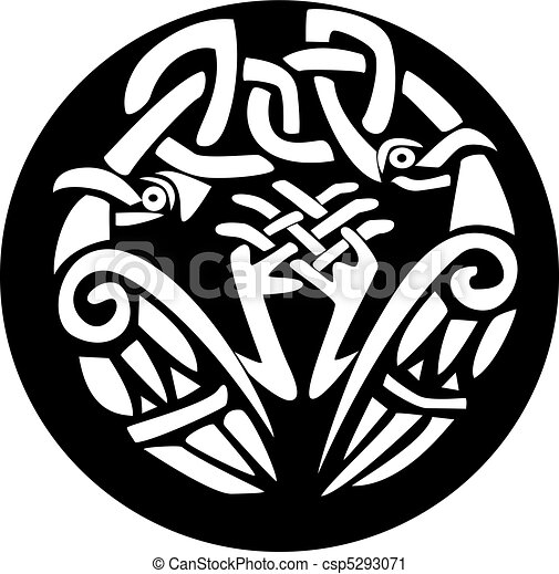 Viking head clip artby funwayillustration2 92 knotted viking birds design a black and white illustration
