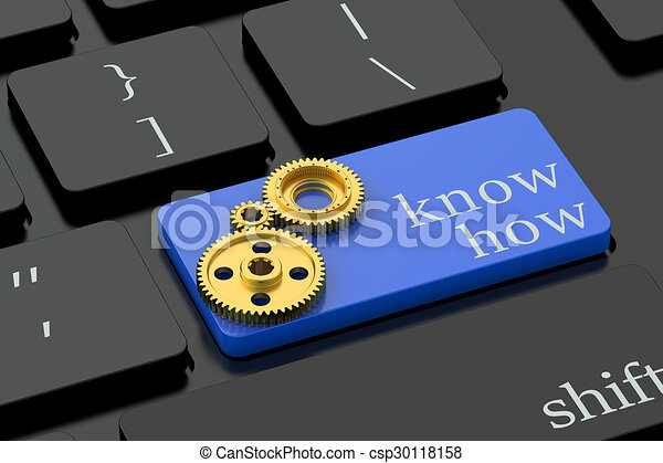 Know How concept on blue keyboard button - csp30118158