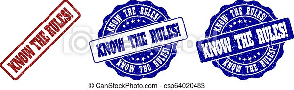 KNOW THE RULES! Grunge Stamp Seals - csp64020483