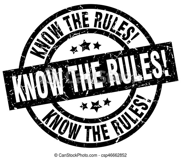 know the rules! round grunge black stamp - csp46662852