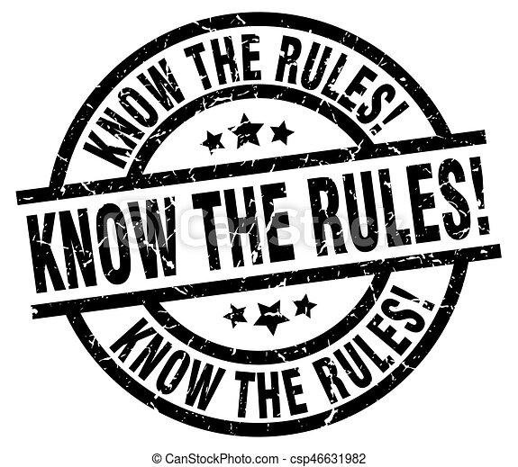 know the rules! round grunge black stamp - csp46631982