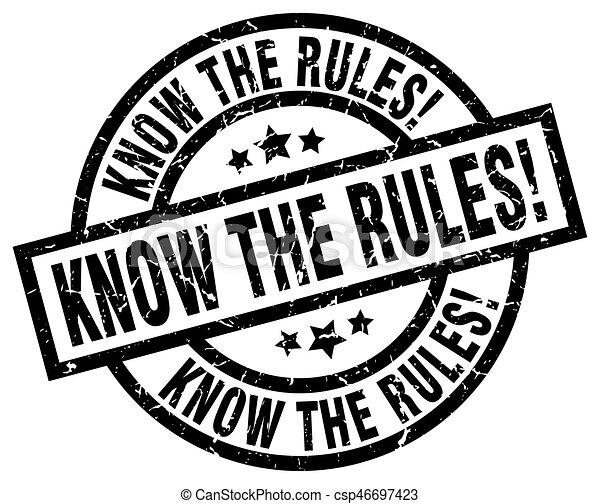 know the rules! round grunge black stamp - csp46697423