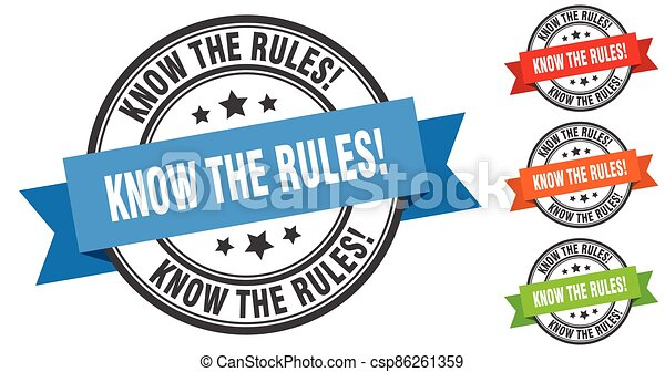 know the rules stamp. round band sign set. label - csp86261359