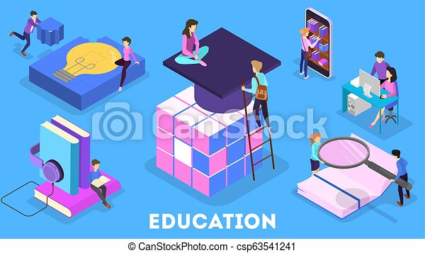 Knowledge and education concept. People learning online - csp63541241