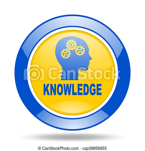 knowledge blue and yellow web glossy round icon - csp39856955