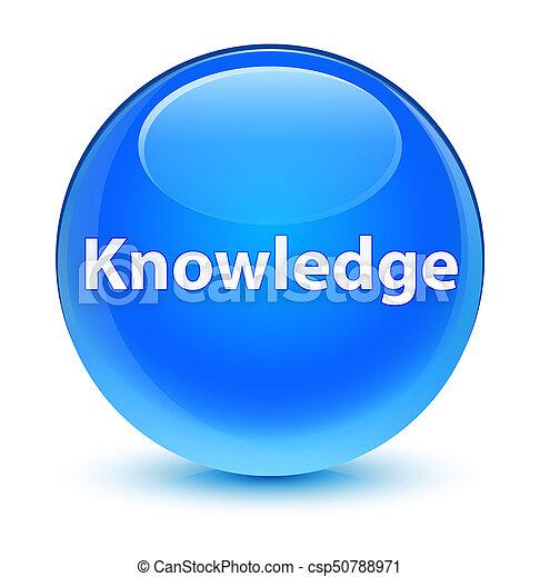Knowledge glassy cyan blue round button - csp50788971