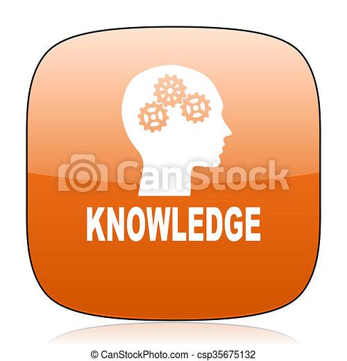 knowledge orange square web design glossy icon - csp35675132