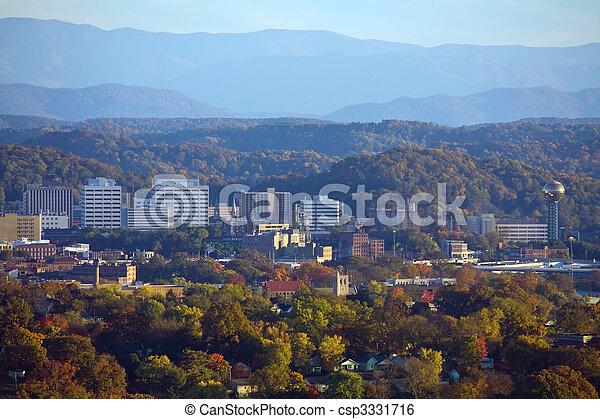 Knoxville Skyline with Smoky Mountains - csp3331716