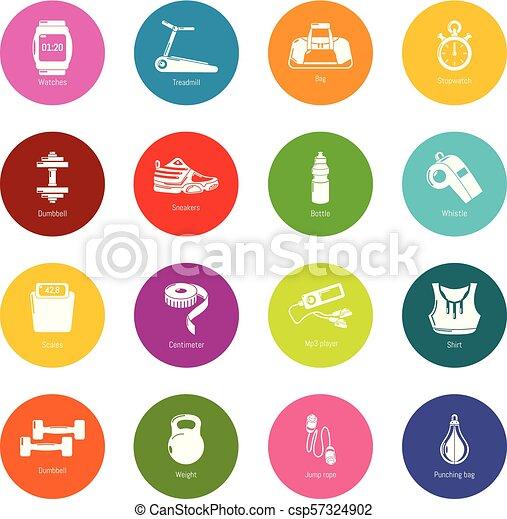 koła, komplet, barwny, ikony, sala gimnastyczna, wektor, sport - csp57324902