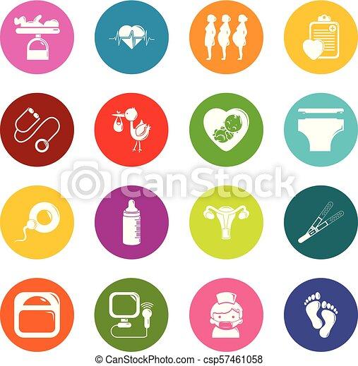 koła, komplet, barwny, ikony, wektor, brzemienność - csp57461058