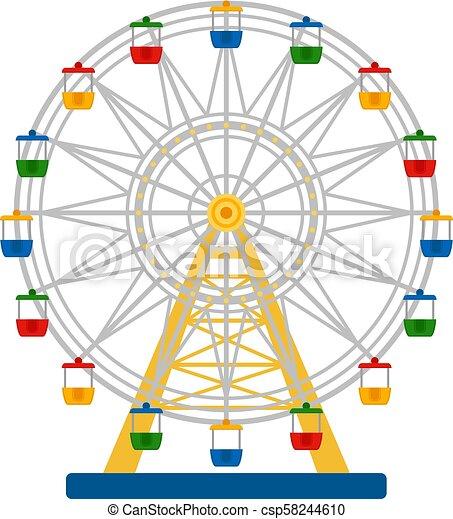 koło, barwny, ilustracja, ferris, wektor, białe tło - csp58244610