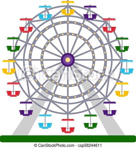 koło, barwny, ilustracja, ferris, wektor, białe tło - csp58244611