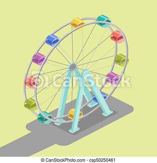 koło, ferris, isometric, wektor, ilustracja - csp50250461