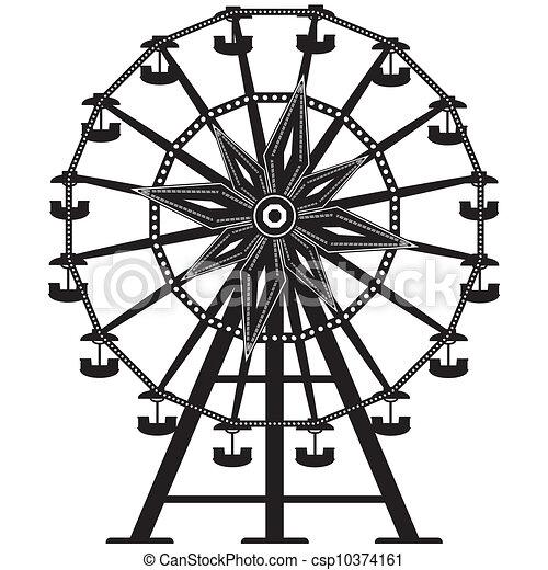 koło, ferris, wektor, sylwetka - csp10374161