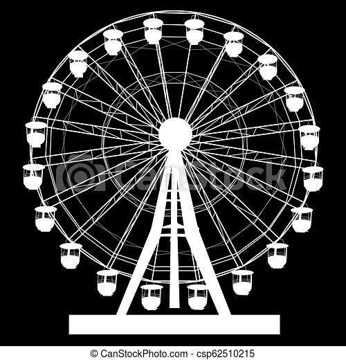 koło, sylwetka, barwny, atraktsion, ilustracja, ferris, czarne tło - csp62510215