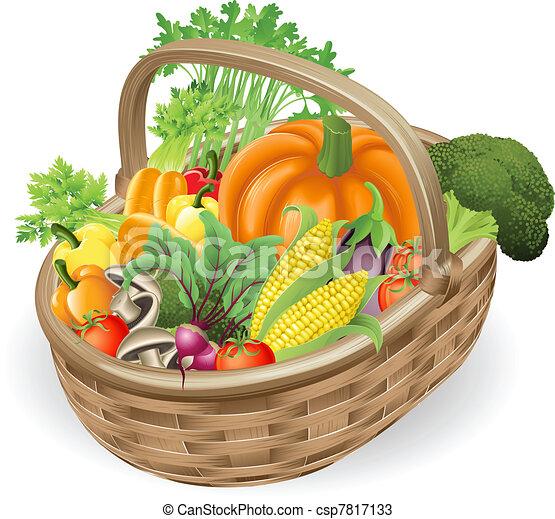 koš, čerstvá zelenina - csp7817133