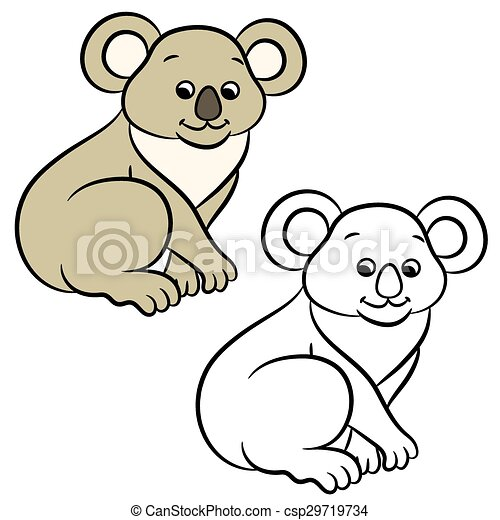 koala bear coloring book koala bear vector illustration rh canstockphoto ca  baby koala bear clipart