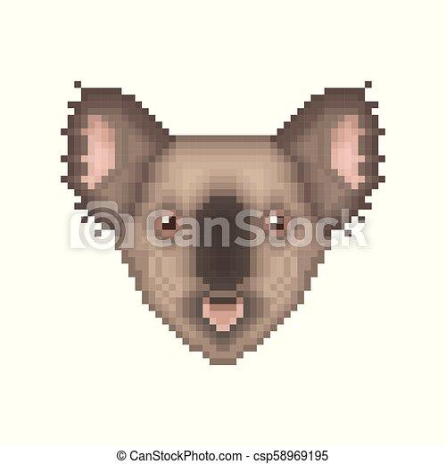 Koala Bear Pixel Art Portrait