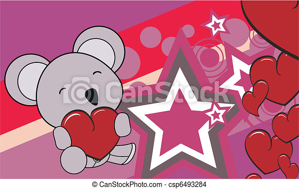 Line Art Valentine : Koala cartoon valentine background in vector format eps