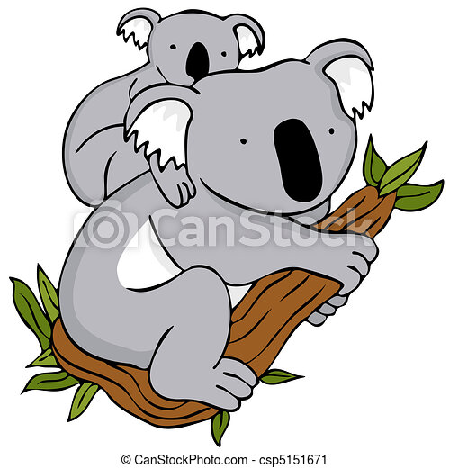 koala family an image of a koala baby and mom cartoon vector rh canstockphoto com koala clipart outline koala clipart images