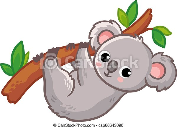 Koala Hangs On A Tree On A White Background Cute Australian Animal In A Cartoon Style Vector Illustration Canstock It's high quality and easy. https www canstockphoto com koala hangs on a tree on a white 68643098 html