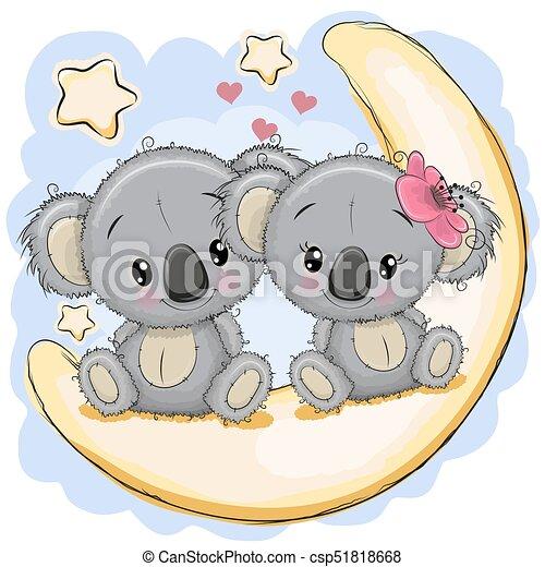 Koala, mignon, lune, deux, séance. Mignon, koala, séance ...