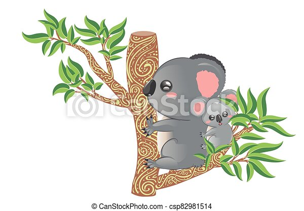 Koala Mother And Baby Cute Cartoon Grey Koala Bears Mother With Babyon Eucalyptus Tree Branch Design Canstock Choose from over a million free vectors, clipart graphics, vector art images, design templates, and illustrations created by artists worldwide! can stock photo