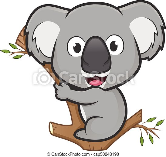 Koala On A Tree Clipart Picture Of A Koala Cartoon Character On A Tree Canstock Koala, arboreal herbivorous marsupial native to australia, looking at the camera isolated on white background copy space. https www canstockphoto com koala on a tree 50243190 html