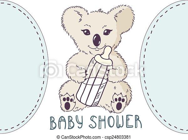 Koala with bottle of milk. baby shower template.