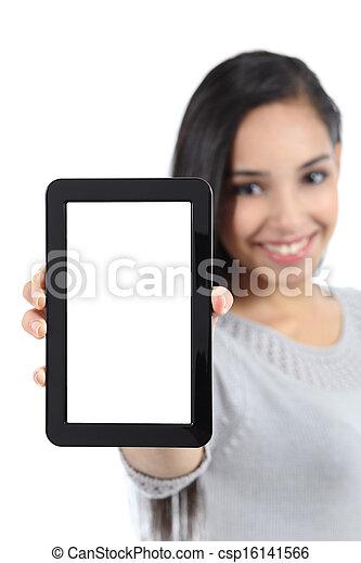 kobieta, ładny, tabliczka, pionowy, odizolowany, pokaz, ekran, czysty - csp16141566