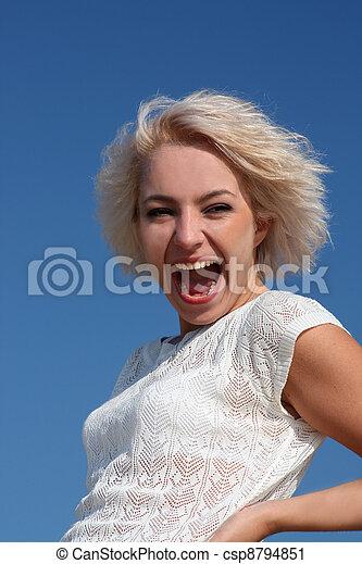 kobieta, śmiech, młody - csp8794851