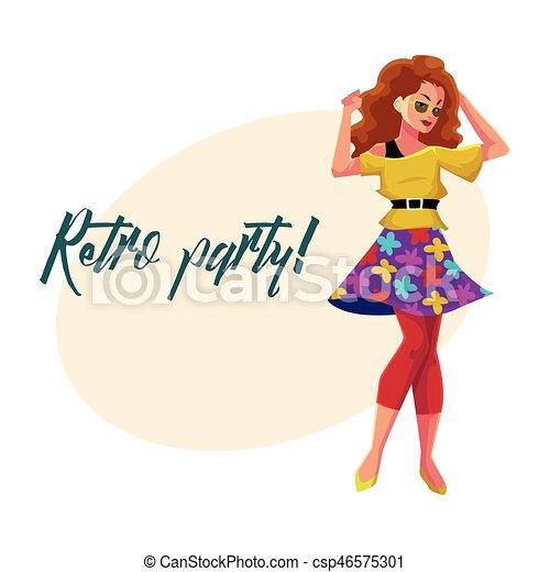 kobieta, afisz, dyskoteka, zaproszenie, retro, 80ą, partyjne ubranie - csp46575301