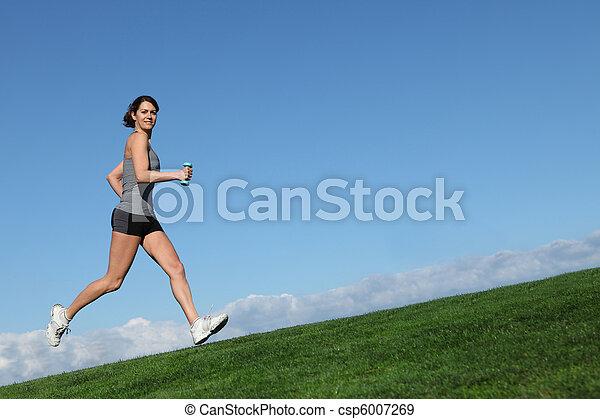 kobieta, atak, zdrowy, wyścigi, jogging, albo, poza - csp6007269