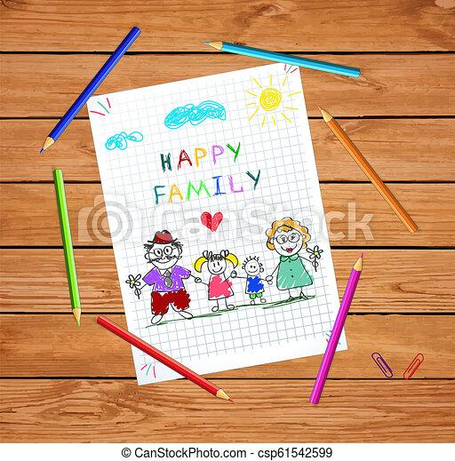 kobieta, barwny, razem, ręka, wektor, ilustracja, dzierżawa wręcza, pociągnięty, człowiek, dzieci - csp61542599