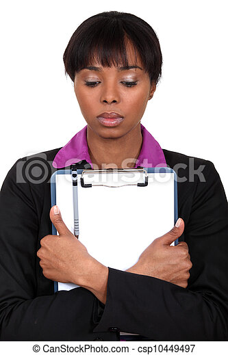 kobieta, clipboard, dzierżawa, smutny - csp10449497