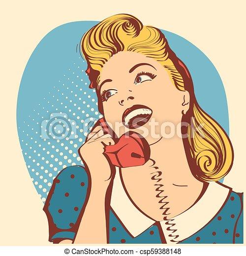 kobieta, farba sztuki, młody, hukiem, włosy, mówiąc, phone.vector, ilustracja, blond, retro - csp59388148