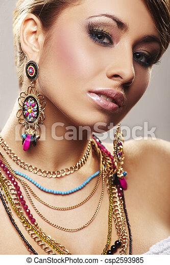 kobieta, fason, biżuteria - csp2593985