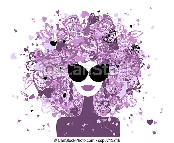 kobieta, fason, twój, portret, projektować - csp8713246