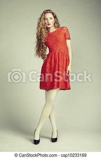 kobieta, fotografia, wspaniały, młody, fason, strój, czerwony - csp10233169