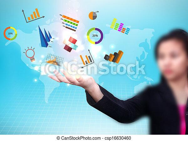 kobieta handlowa, media, dzierżawa, towarzyski, ikona - csp16630460