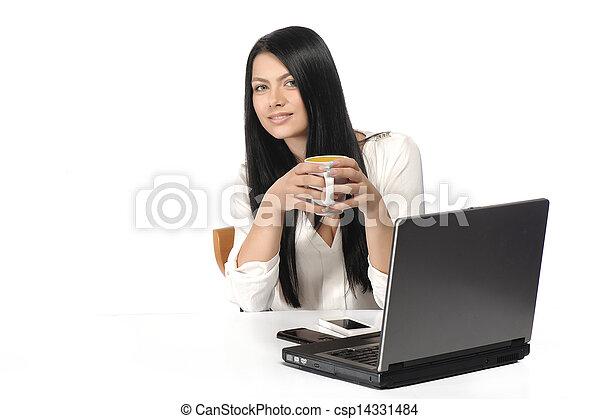 kobieta handlowa, szczęśliwy, portret, laptop - csp14331484